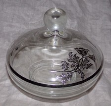 Antique Vtg Silver Overlay Deposit Glass Floral Flowers Clear Glass Cand... - $11.66