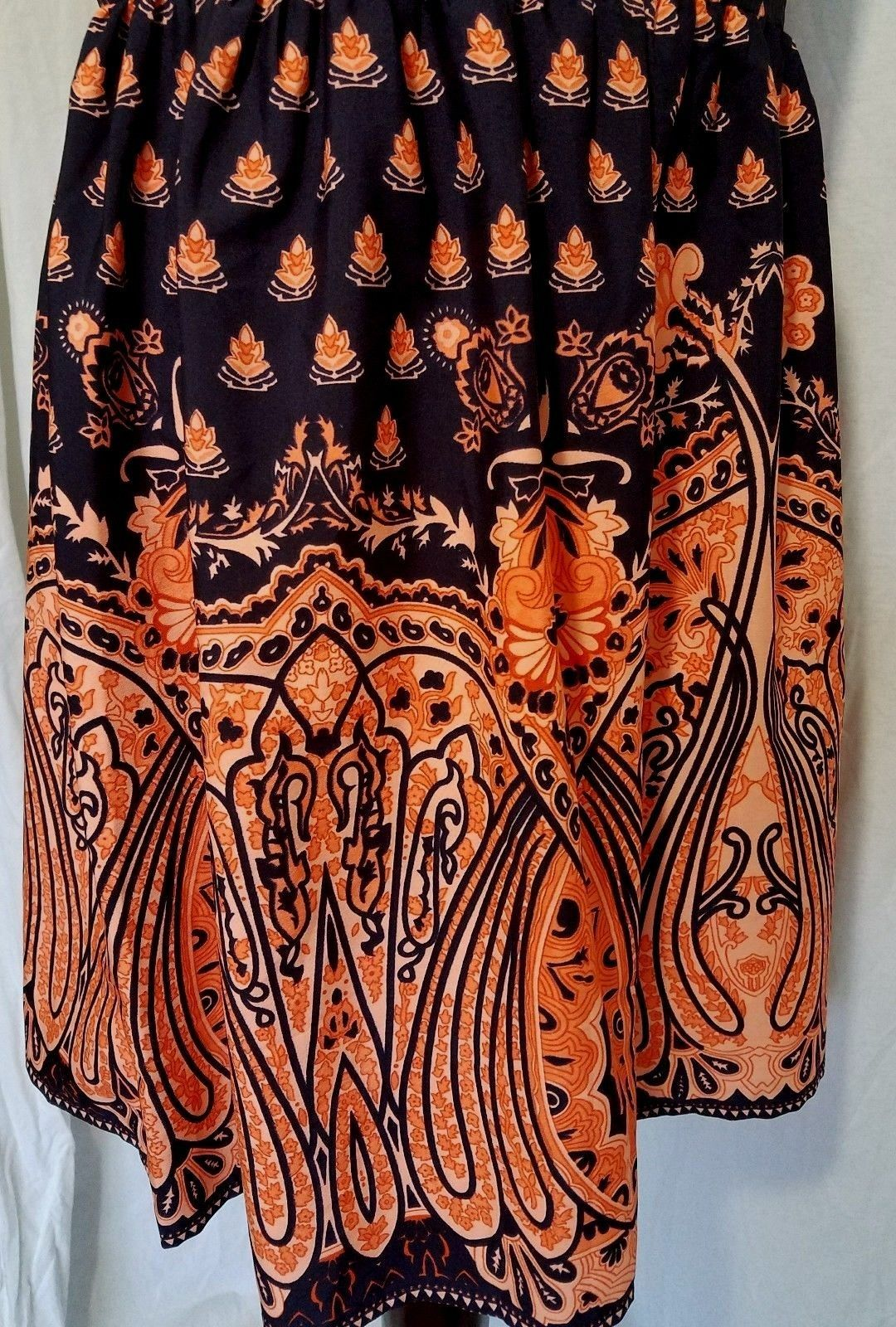 Pinky Navy Blue Dress Orange Lotus Flowers Paisley Sleeveless Size L