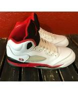 Nike Air Jordan Fire Red 5S Youth Kid Shoe White Vintage Sneaker Size US... - $69.29