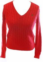 Ralph Lauren Damen Dunkel Rosa Baumwolle Zopfmuster V Ausschnitt Pullover M - $79.81