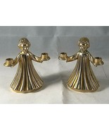 2 Angel Figurine Candle Holders Silver Plate & Gold Taper Holders Italy - $10.84
