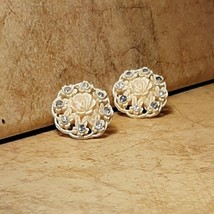 Vintage Cream Flower & Clear Stone Screw Back Earrings Pretty on Ears or... - $8.59