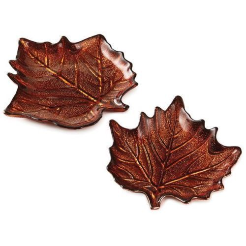 Autumn Leaf Glass Plates Set 2 Hallmark Thanksgiving Fall Harvest Serving Dish
