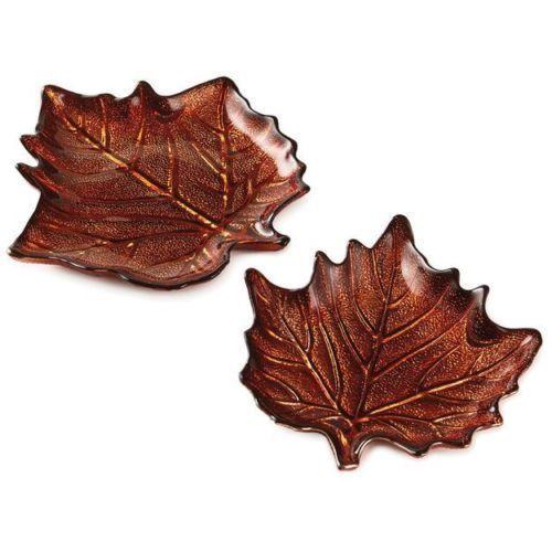 Autumn Leaf Glass Plates Set 2 Hallmark Thanksgiving Fall Harvest Serving Dish