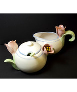Avon 4 pce set creamer covered sugar with spoon ELEGANT BLOOMS blue bands - $22.74