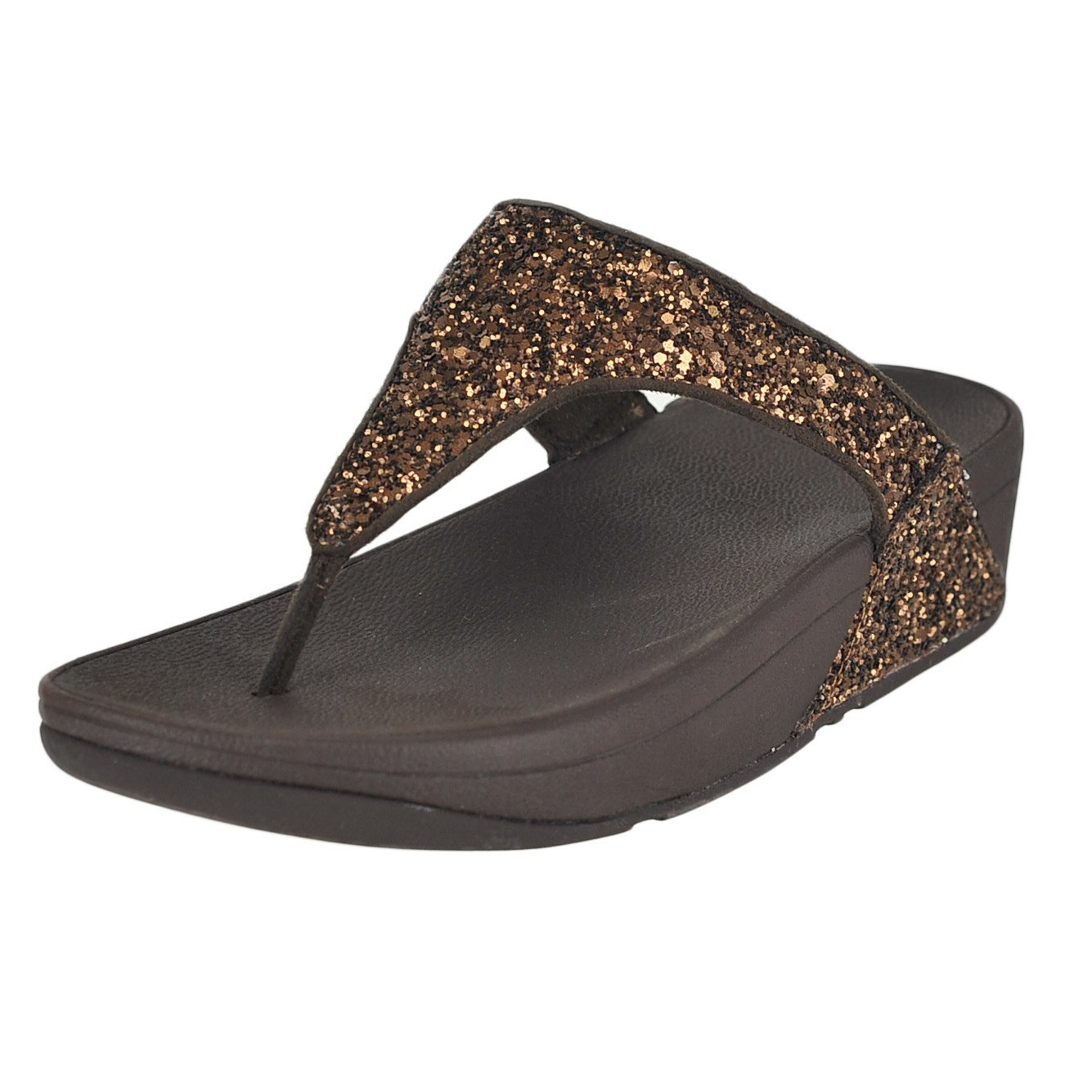 FitFlop Women's Glitterball Wedge Thong Sandal,Bronze Imi-Leather/Glitter,US 8 M