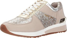 Michael Kors MK Women's Allie Trainer Leather (9.5, Silver Gold)