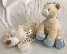 Baby GUND Tender Beginnings Blue Giraffe + Baby Ganz Cream Floppy Bear P... - $22.76
