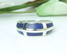 Sterling Silver Lapis Lazuli Gemstone Inlay Sterling Band Ring Size 6 - $39.00