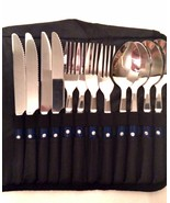 Camping Flatware Utensil Set 12 Pieces Storage Case Forks Spoons Knives  - $17.82