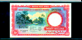 BRITISH WEST AFRICA P10a 20 Shillings 1953 Looks Uncirculated River Scene - $475.00