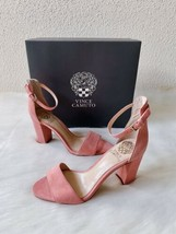 ✨New VINCE CAMUTO Corlina Suede Ankle Strap Sandals Pink Womens Size 6.5... - $40.97