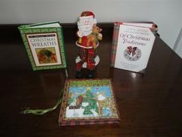 Christmas Set of 3 HC Miniature Books & Santa Figure - $57.83
