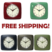 Square Retro Vintage Wall Clock | Red, Blue, Sage, Iron, Green | Kitchen... - $18.35