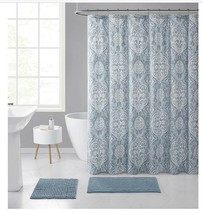 LAITH 15PC SHOWER CURTAIN AND MAT SET O21 - $148.49