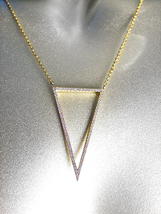 EXQUISITE 18kt Gold Plated CZ Crystals Triangle V Pendant Gold Chain Nec... - $39.99