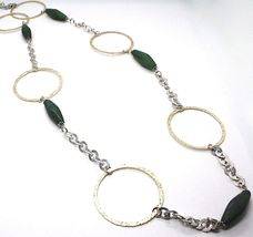 925 Silver Necklace, Jade Green, Yellow Circles, 100 CM, Rolo hammer image 4
