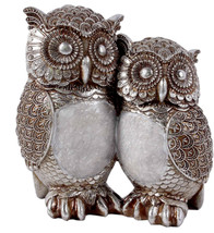 Statue sculpture Baby and Mother Silver Capiz Owl - 7.5 in. - $107.91