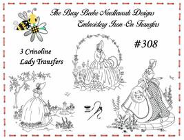 #308 - 3 Crinoline Ladies Lady Garden Gal Belle Embroidery Iron-On Trans... - $9.89