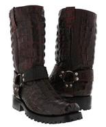 Mens Black Cherry Biker Motorcycle Crocodile Back Alligator Western Boot... - £146.61 GBP