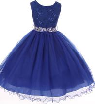 Flower Girl Dress Glitter Sequin Top & Rhinestone Sash Royal JK 3670 - $47.52+