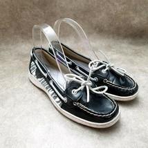 Sperry Top-Sider Womens Angelfish 9180118 Size 8 Black Slip On Zebra Boa... - $21.99