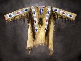 Men Native American Buckskin Beige Buffalo Leather Beads PowWow War Shir... - $269.10