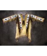 Men Native American Buckskin Beige Buffalo Leather Beads PowWow War Shir... - $269.10