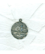 Vintage Guardian Angel Pendant  Silver Metal - $9.00