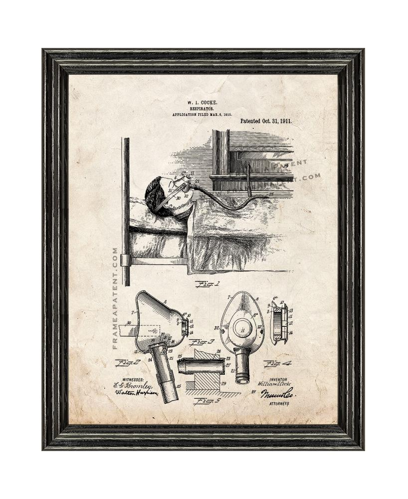 Primary image for Respirator Patent Print Old Look with Black Wood Frame