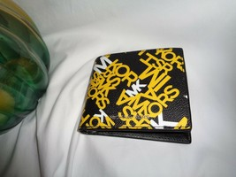 Michael Kors Cooper Billfold Pass Case Bifold Wallet Graphic MK Logo Lem... - $63.94