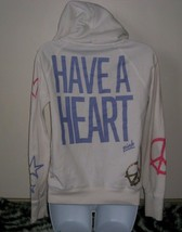 VICTORIA'S SECRET PINK HAVE A HEART WHITE HOODIE STAR PEACE SIGN ZIP SWE... - $16.74