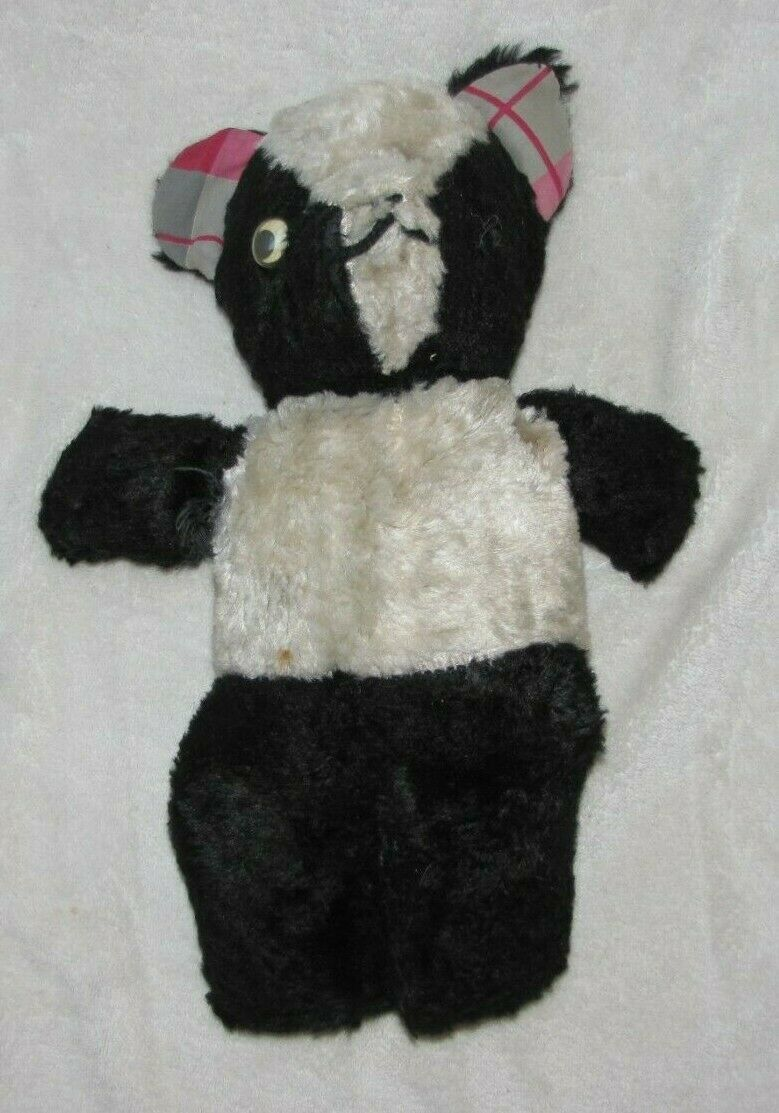 Primary image for Vintage Stuffed Plush Teddy Bear Black White Panda Plaid Ears