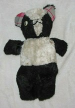 Vintage Stuffed Plush Teddy Bear Black White Panda Plaid Ears - $44.05