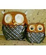 Set of 2 Owl Tea light Candle Holder Brown Ceramic - $21.77