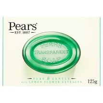 Pears Oil Clear Transparent Soap (125g) - Pack of 6 With Lemon Flower Ex... - $13.26