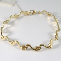 BRACELET YELLOW GOLD 750 18K WITH WAVES AND LEAVES, SEEDS RIGID, 21 CM LENGTH image 1
