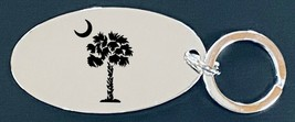 SC Palmetto Logo Silver Finish Oval Key Chain Great Gift! - $20.95