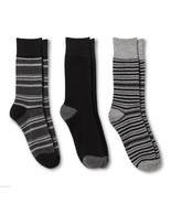 Merona NEW Mens 3 pair Dress Crew Socks 6 12 Black Gray Stripes Grey - $25.00