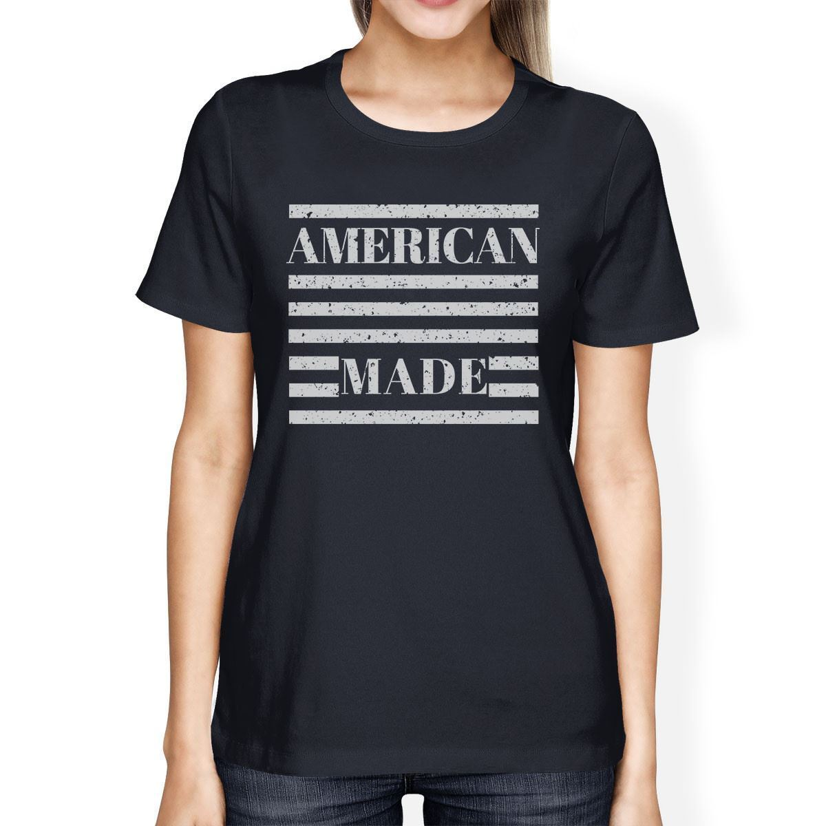 American Made Womens Navy Short Sleeve T-Shirt For Fourth of July