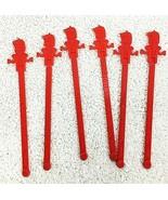 6 Vintage Marion Motor Hotel Red Swizzle Stir Sticks Salem OR - $12.38