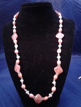 "22"" Handmade Cherry Quartz and Genuine Pearl Beaded Necklace Z187 - $40.00"