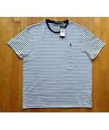Polo Ralph Lauren Men's Stripe Classic Fit White & Blue Short Sleeve T-Shirt - $45.52