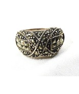 Sterling Silver 925 Marcasite Gemstone Crossover Infinity Ring Band Size... - $40.39
