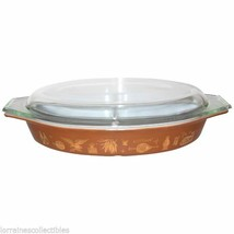 PYREX 1 1/2 Quart Brown And Gold Americana Divided Pyrex Dish - $49.49