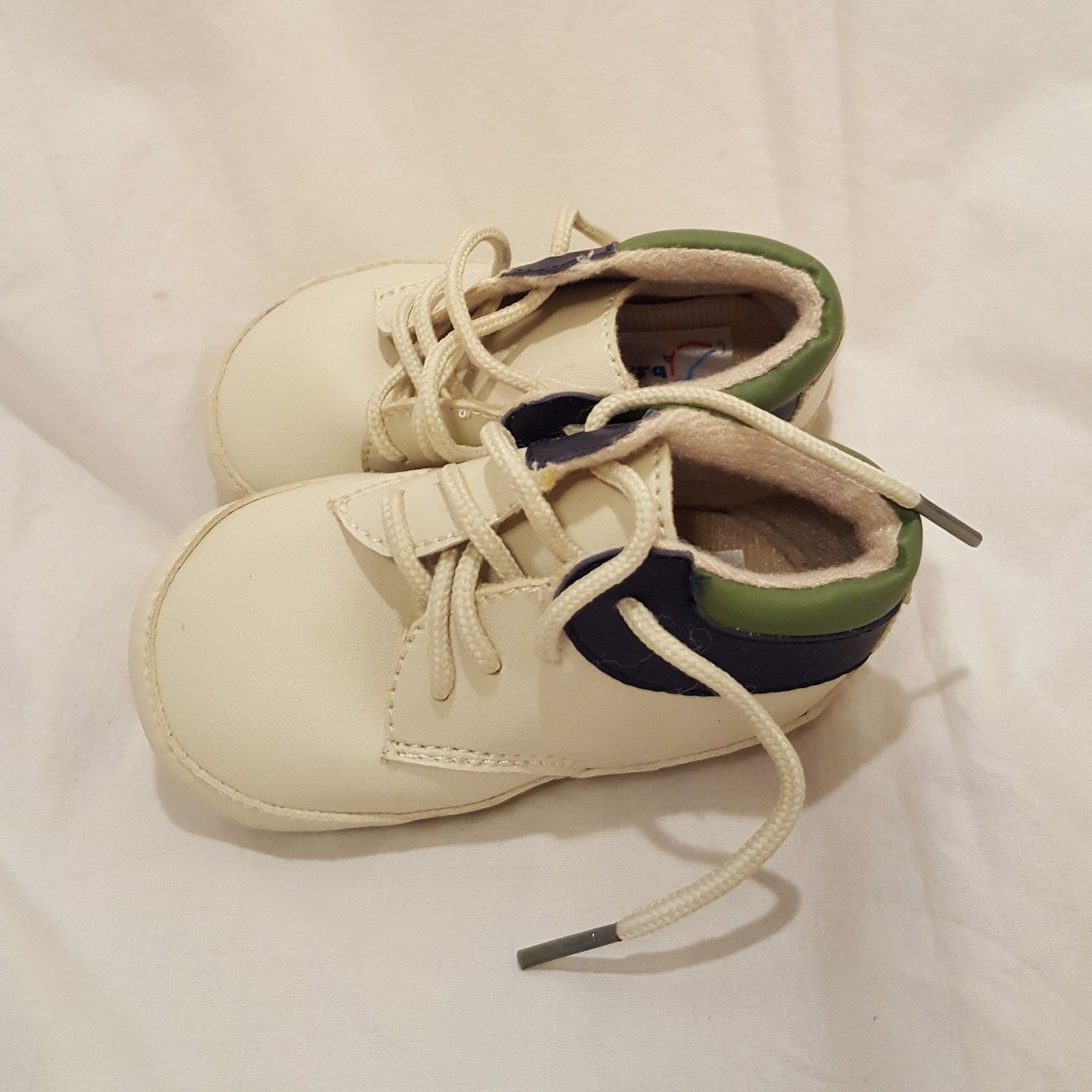 Shoes Soft Sole Toddler Cream Blue Green Size 24 Months 2T Boys BT Kids Lace