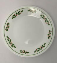 "Corelle Christmas Salad Plate Holly Days 6.75"" Black Stem USA - $8.87"