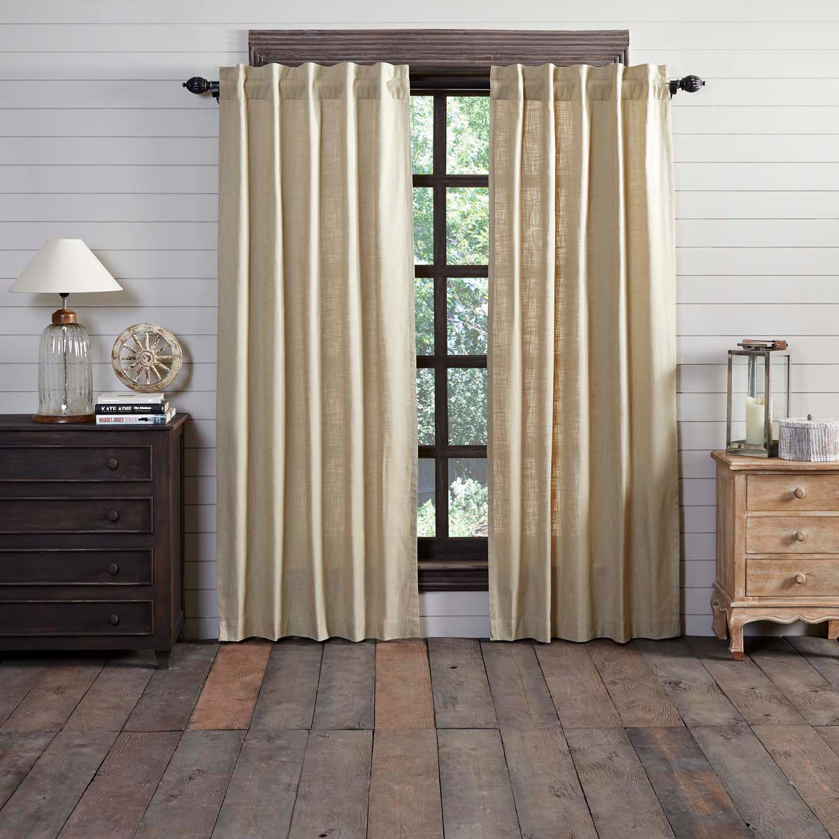 REGINA KHAKI PANEL SET OF 2 84X40 ~ Oatmeal Country Curtains - $47.02