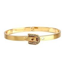 UE-Designer Gold Tone Bangle Bracelet, Buckle Clasp & Swarovski Style Crystals image 2