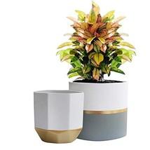 White Ceramic Flower Pot Garden Planters 6.5 Inch Pack 2 Indoor, Plant C... - $29.60